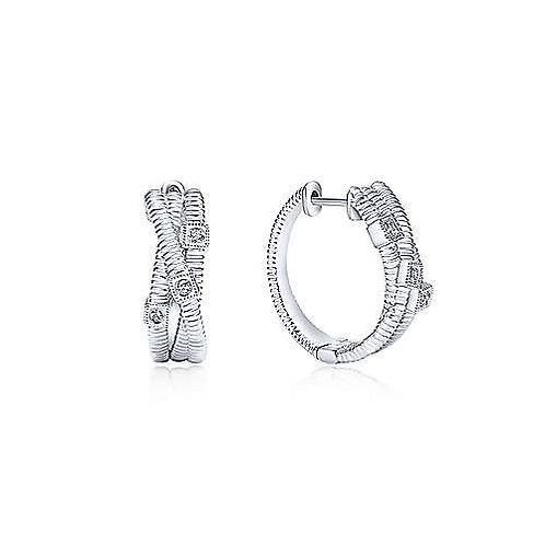 Sterling Silver 15mm Twisting Diamond Huggie Earrings