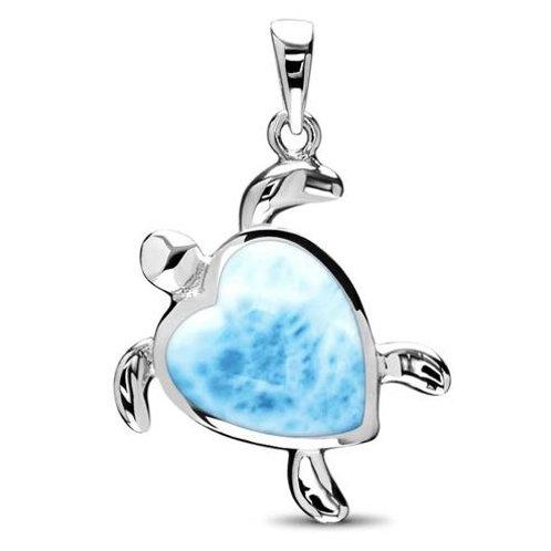 Turtle Heart Larimar Pendant Necklace