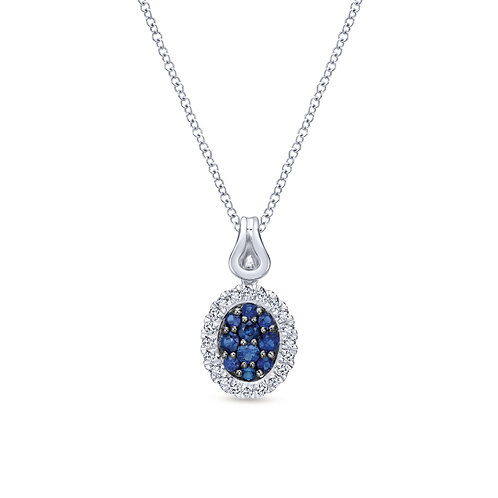 925 Sterling Silver Oval Blue and White Sapphire Pendant Necklace