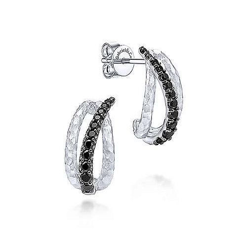 Sterling Silver Black Spinel Curved Drop Earrings