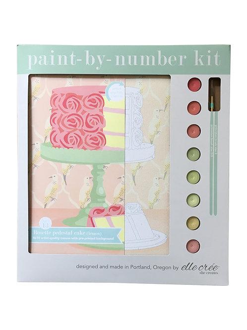 8x10 Canvas Kit | Rosette Pedestal Cake | paint-by-number kit