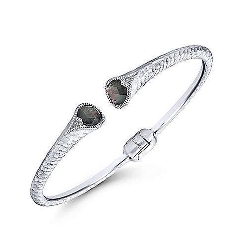 Hammered 925 Sterling Silver Rock Crystal and Black Pearl Split Bangle