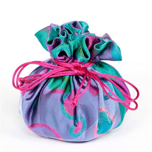 Purple Polka Dots Brocade Jewelry Pouch