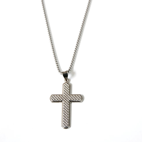 Sterling Silver Textured Cross 24-Inch Necklace