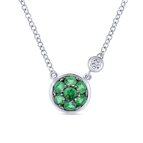 925 Sterling Silver Round Emerald Cluster Pendant Necklace