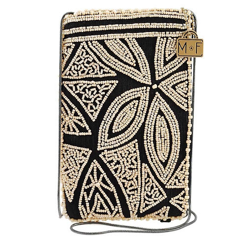 Kindred Spirit Beaded Raw Silk Crossbody Phone Bag