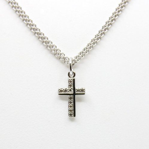 Small Sterling Silver Cross with Sapphire Necklace