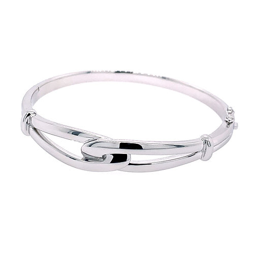 Breuning Sterling Silver Interlocking Knot Bangle Bracelet