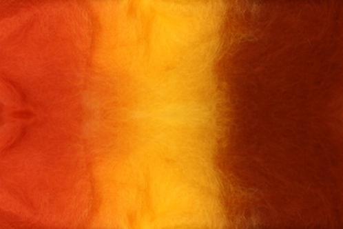 Corriedale Tri-Color Batting - Red Yellow Orange