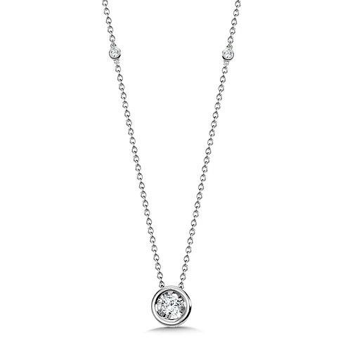 Bezeled Diamond Star Solitar Necklace