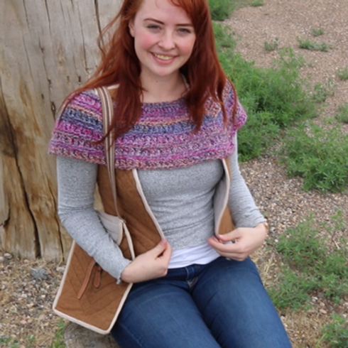 Hand Knit Alpaca Cowl (pinks/greys)