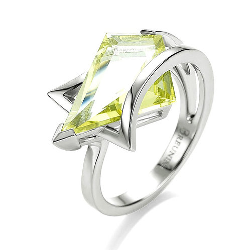 Breuning Sterling Silver Green Quartz Geometric Ring
