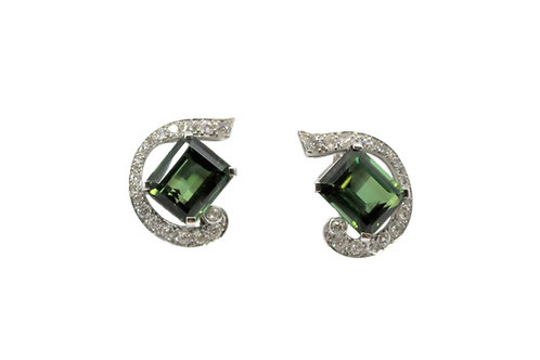 Vintage Tourmaline & Diamond Earrings