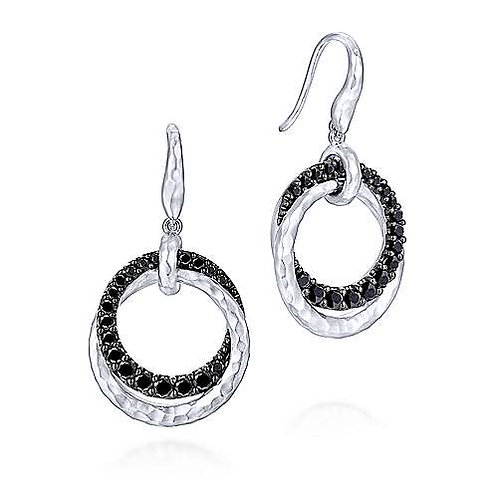 Sterling Silver Black Spinel Double Circle Drop Earrings