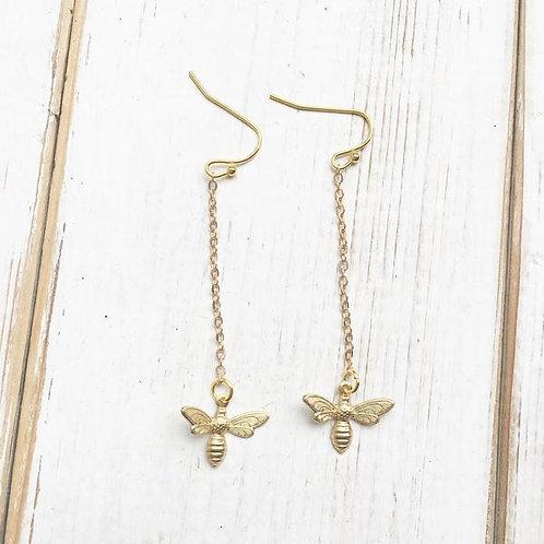 Bee Earrings Long Gold Bumblebee Charm Earrings