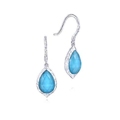 Pear Shaped Rock Crystal/Turquoise Drop Earring
