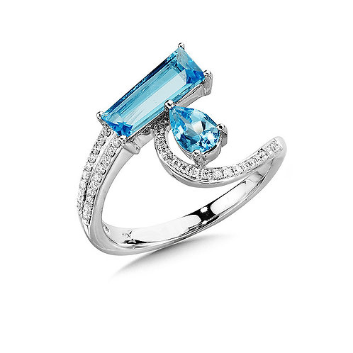 Abstract Bypass Swiss Blue Topaz and Diamond Ring