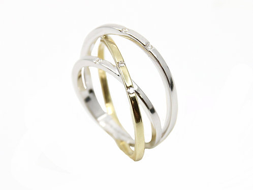 Breuning Silver and Gold Ring with Diamonds
