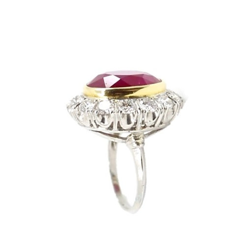 Vintage Oval Ruby and Diamond Ring