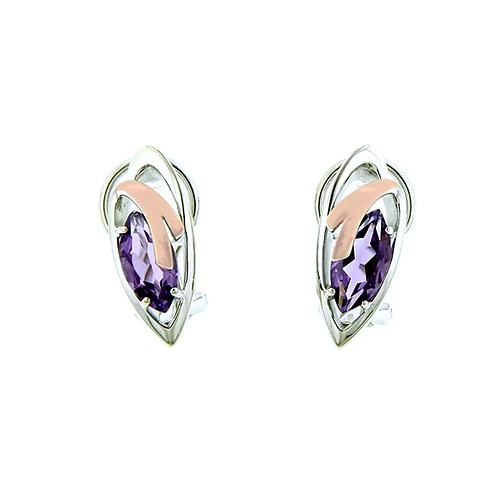 Rose Gold and Sterling Silver Amethyst Earrings