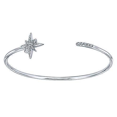 White Sapphire Starburst Open Bangle