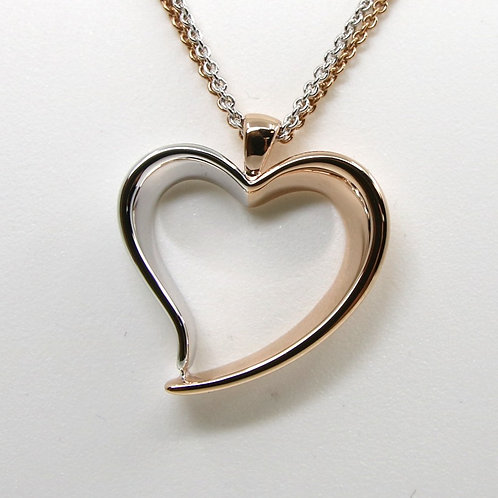 Sterling Silver and Rose Gold Heart Pendant Necklace