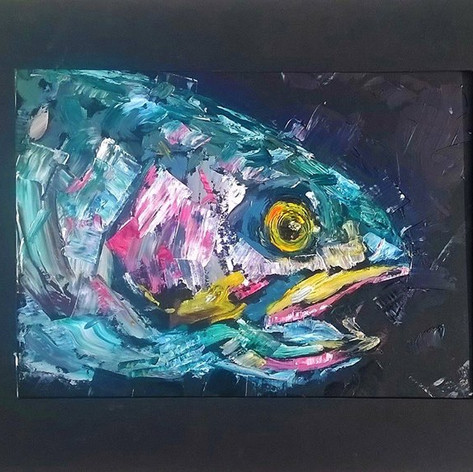 Oil painting of rainbow trout