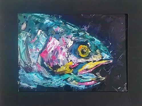 Oil painting of RAINBOW TROUT HEAD ONBLACK MATTING PAPER