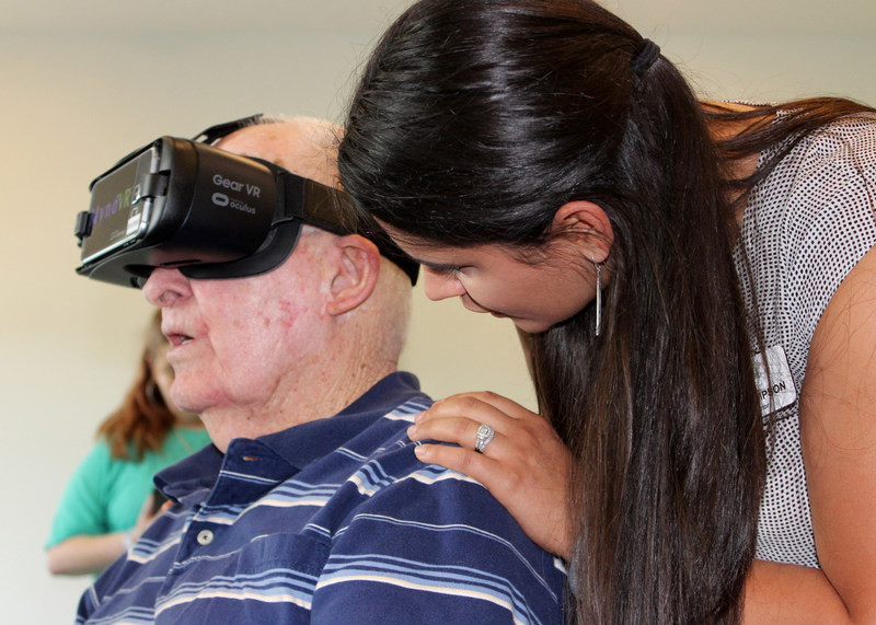 A demonstration of virtual reality for seniors.