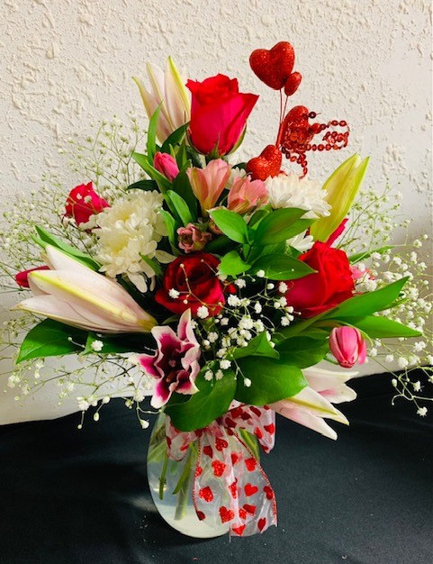 Mixed Valentine Vase Arrangements