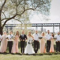 Bridal Party with Bouquets and Boutonnieres