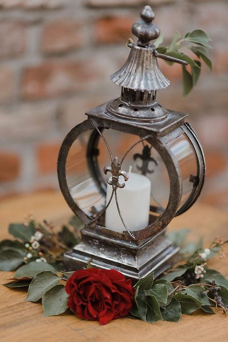 Fleur de Lis lantern centerpiece for NOLA wedding