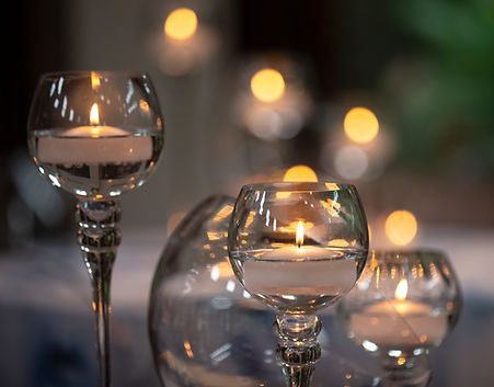 Candle centerpiece with floating candle