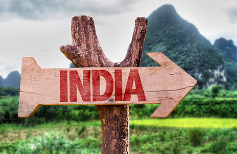 Wood arrow facing south with red India text
