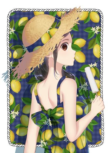 レモン柄ワンピ
