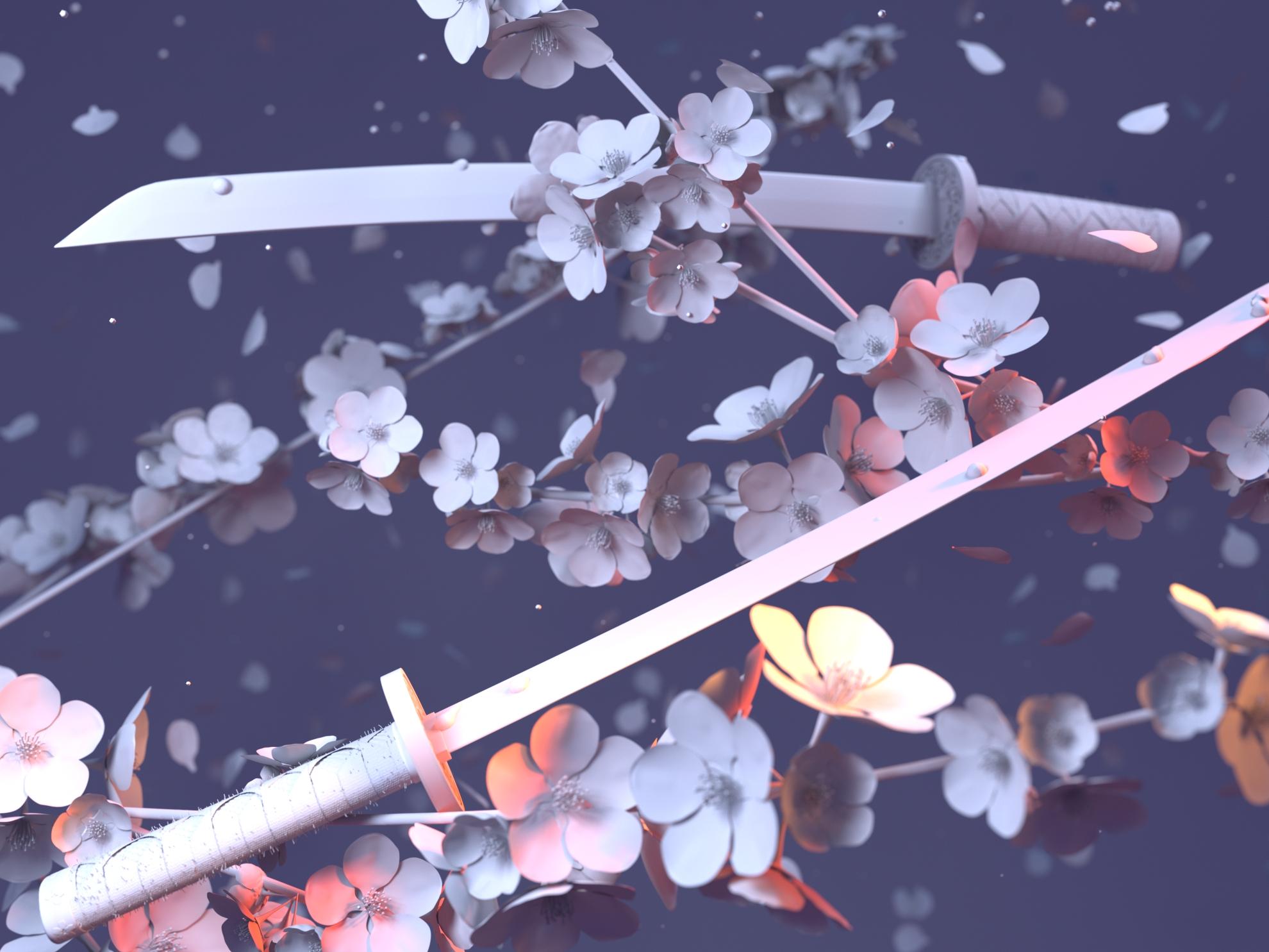sakura & catana (gray light)