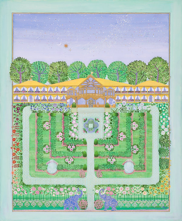 MERU Vedic Garden. Gouache and 22 Carat Gold on Acidfree Cardboard miniature Painting by Burcu Çenberci.