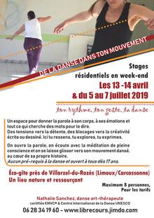 Stage danse thérapie 12/14 avril et 5/7 juillet 2019