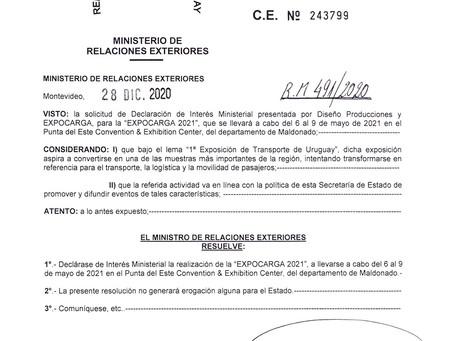 EXPOCARGA 2021: declarada de Interés Ministerial por parte del Ministerio de Relaciones Exteriores