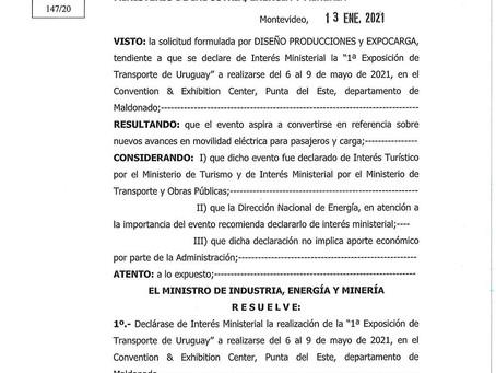 EXPOCARGA 2021: declarada de Interés Ministerial por parte del Ministerio de Industria y Energía
