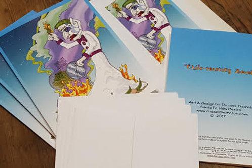 Chile-roasting Zozobra Greeting Cards- Set of 8