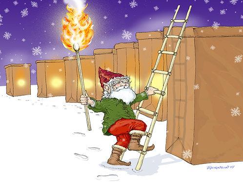 Lighting the Farolitos - Christmas card