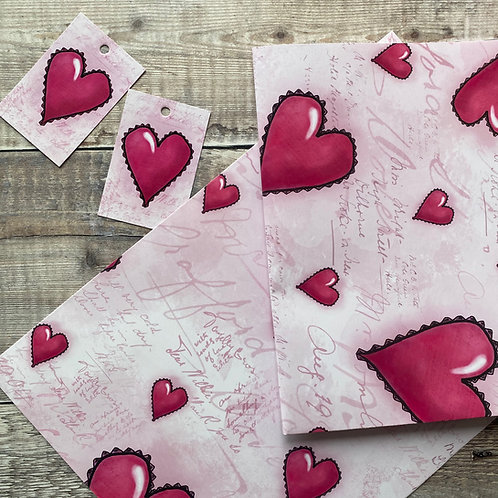 Love Hearts Gift Wrap and tag set - Love Heart wrapping paper