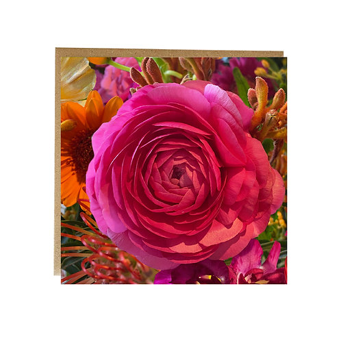 Brightly coloured pink flower Greeting Card