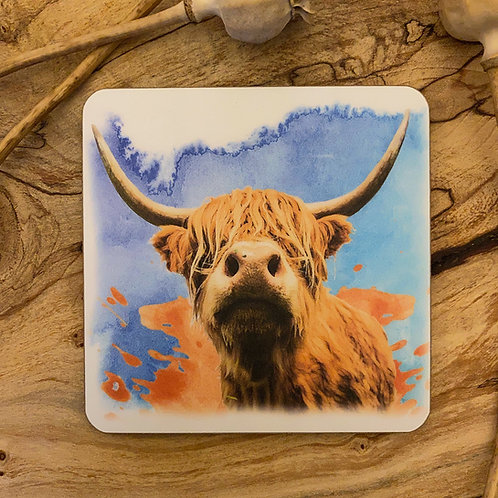 Highland Cow on blue watercolour background Drinks Coasters