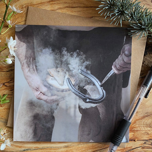 Farrier at work - Equestrian greeting card