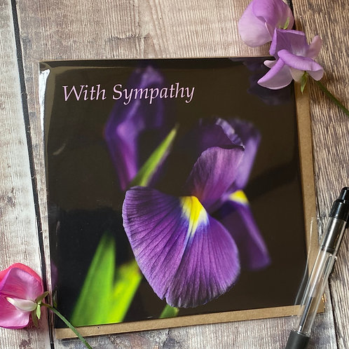 With Sympathy Card with Iris on the front
