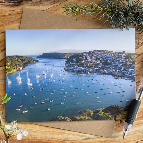 Salcombe, Devon Aerial photography greeting card