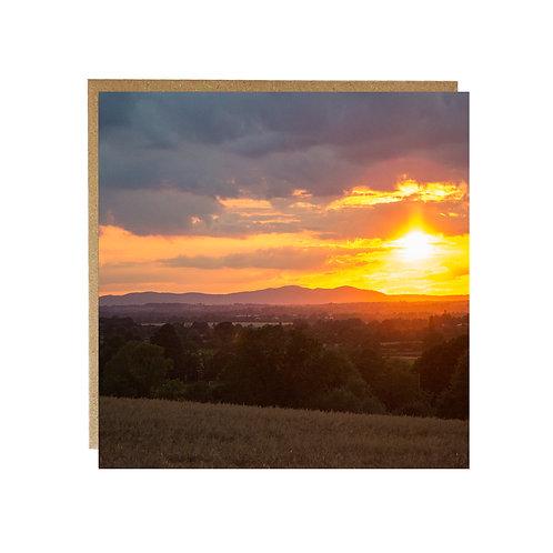 Malvern Hills at Sunset greeting Card