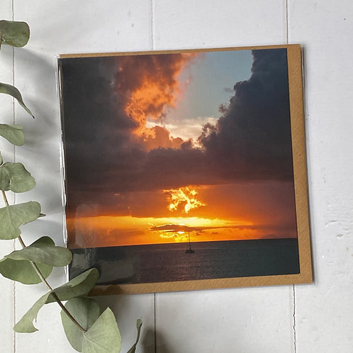 Antiguan Sunset Greeting Card